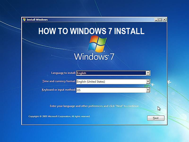 How to windows 7 install