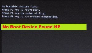 Boot device not found hp