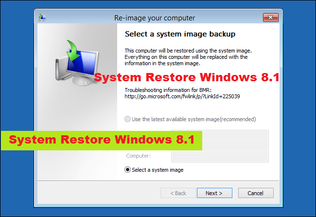 System Restore Windows 8.1