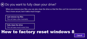 How to factory reset windows 8