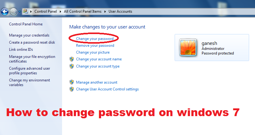 how to change password on windows 7