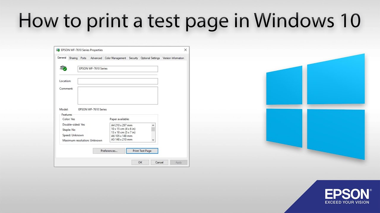 Print Test Page Windows 10