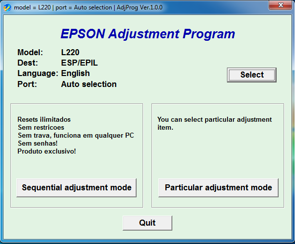 Epson adjustment program l220